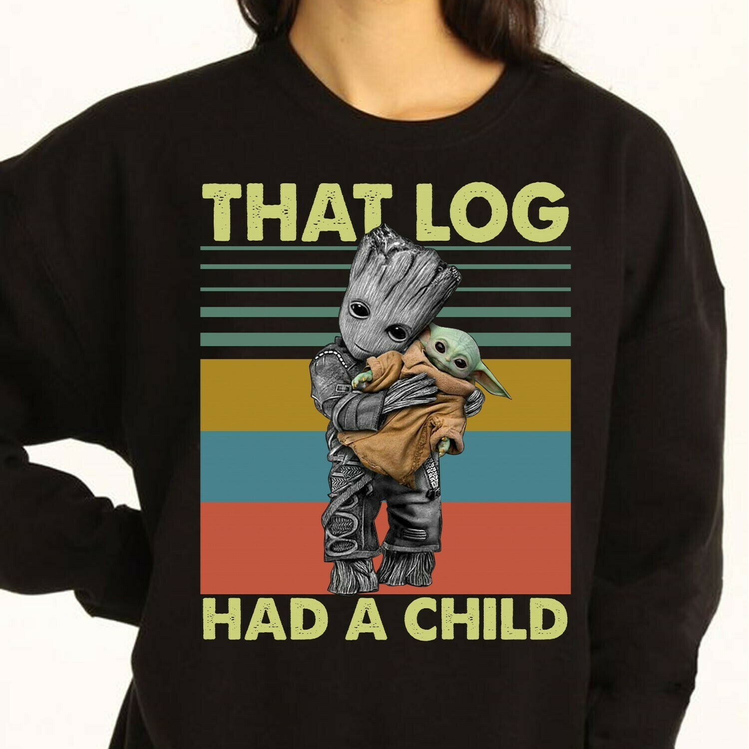 That Log Had A Child Groot mashup baby yoda shirt,star wars 2020 gifts,Funny Star Wars The Mandalorian The Child First Memories Floating Pod Long Sleeve Sweatshirt Hoodie Jolly Family Gifts