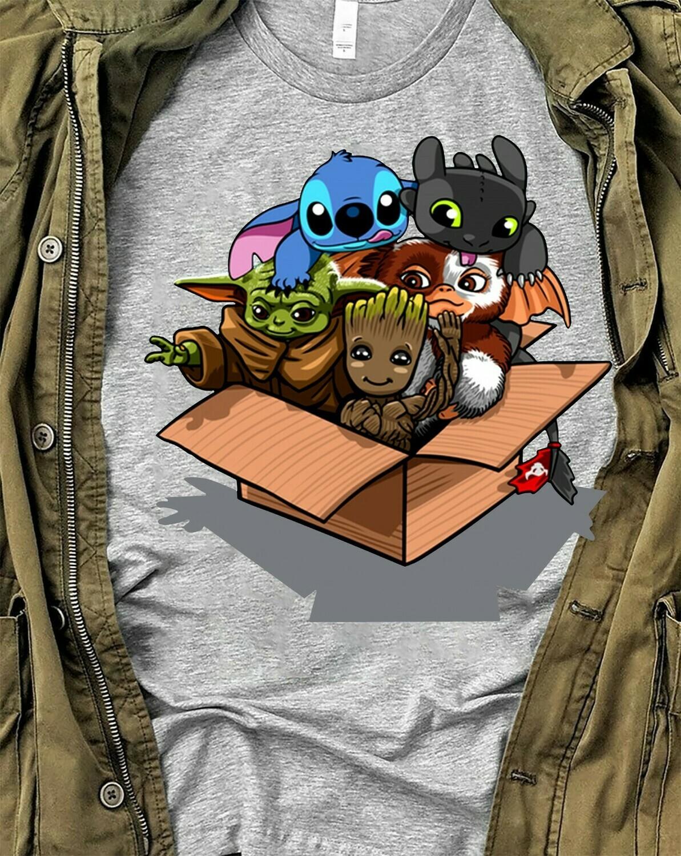 Baby Yoda Gizmo Groot Stitch And Toothless friends,Disney Lilo Stitch Yoda Friends Star War Plus The Mandalorian Festive Force T Shirt Long Sleeve Sweatshirt Hoodie Jolly Family Gifts