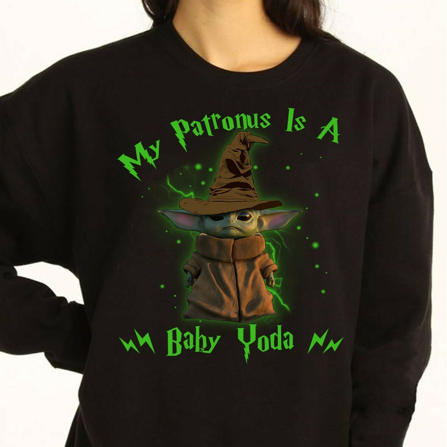 My Patronus is a baby Yoda Gifts,Mandalorian Pocket Star Wars Parody Scarf The Child Discovery Silhouette Tee T-Shirt Long Sleeve Sweatshirt Hoodie Jolly Family Gifts