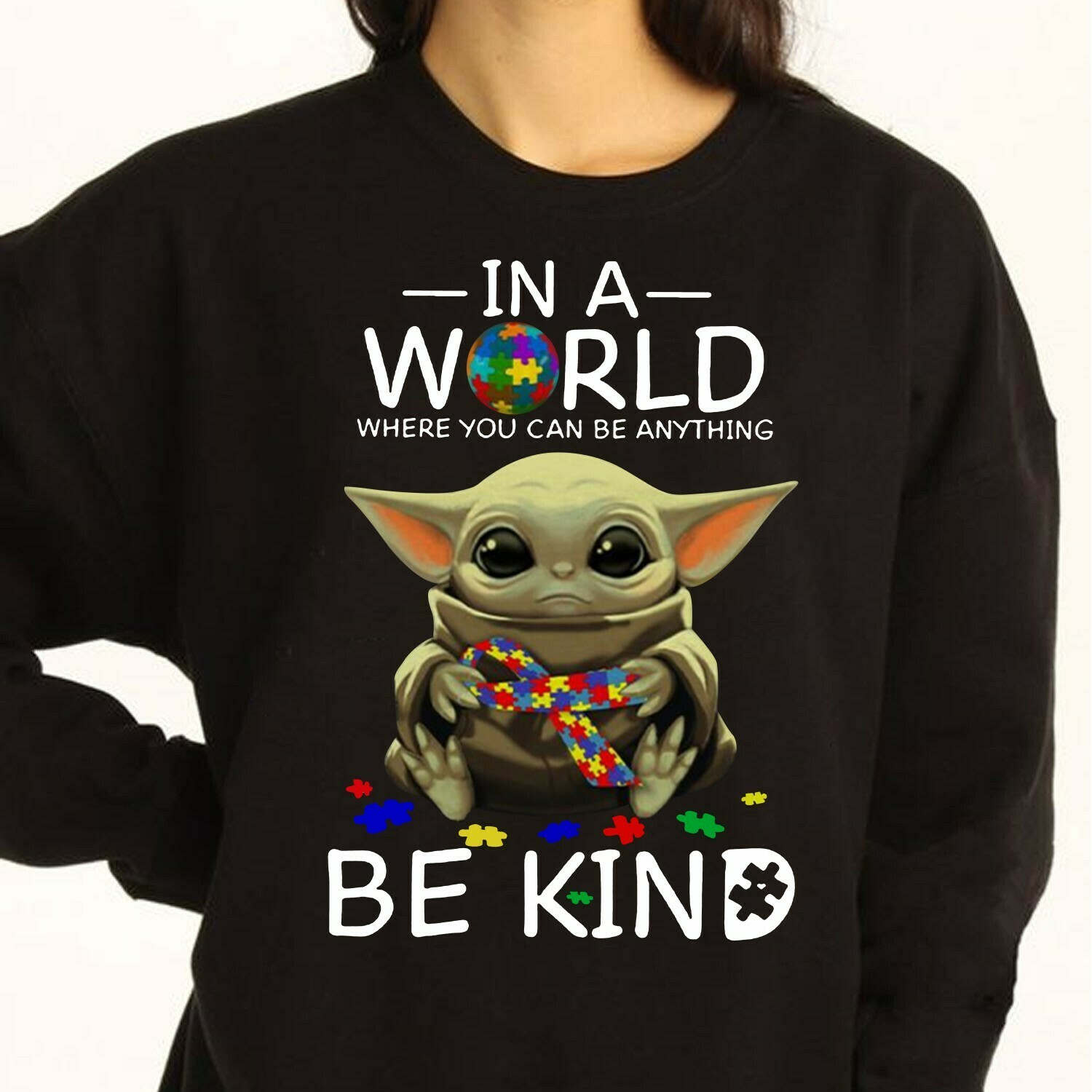 Star Wars Yoda And Baby Yoda In A World Where You Can Be Anything Be Kind Baby Yoda hug Cancer Awareness hope for a cure T-Shirt Long Sleeve Sweatshirt Hoodie Jolly Family Gifts