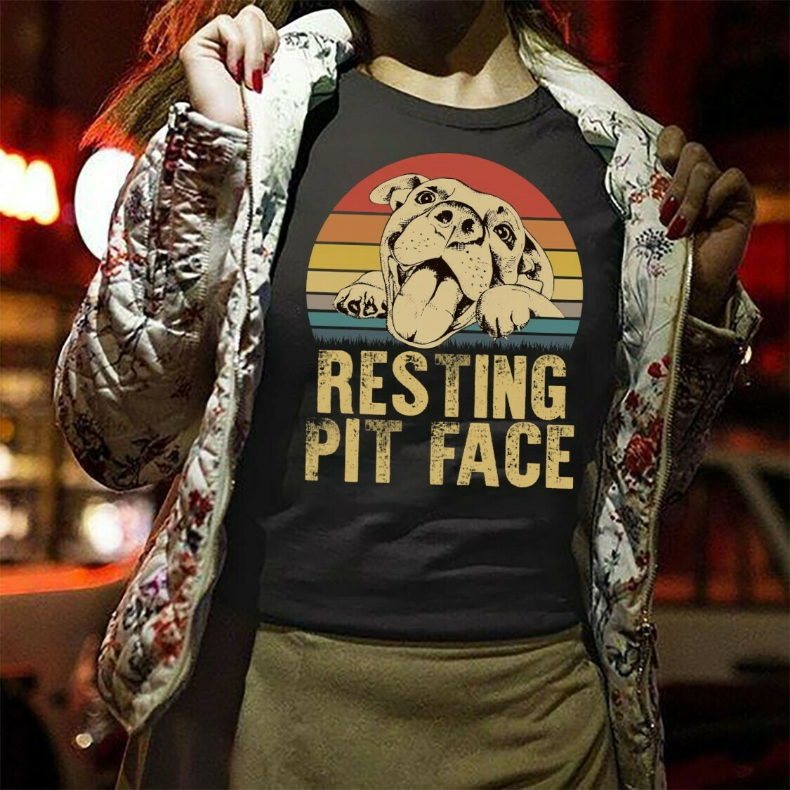 Resting Pit Face - Pitbull,Funny Pitbull Lover Retro Distressed look It's just my FACE! I'm not doing anything Dog Lover T shirt Long Sleeve Sweatshirt Hoodie Jolly Family Gifts
