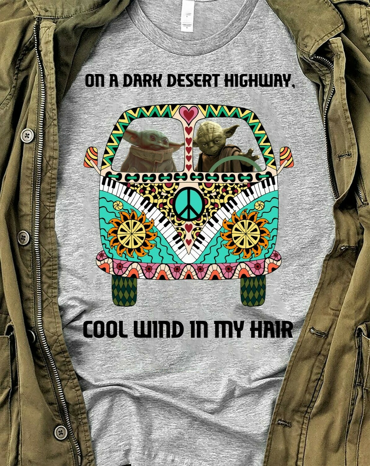 On a dark desert highway cool wind in my hair Baby Yoda and Yoda Hippie in Orlando,Hippy Hippy Boomers child T shirt Long Sleeve Sweatshirt Hoodie Jolly Family Gifts