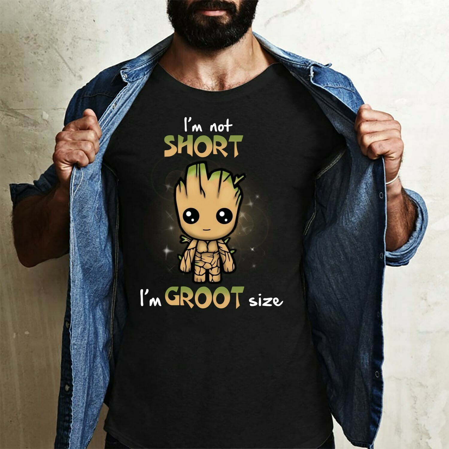 I'm not short i'm groot size,Groot Novelty Gift,Best friends of the Galaxy tee,Star war The Mandalorian Mixed Groot T shirt Long Sleeve Sweatshirt Hoodie Jolly Family Gifts
