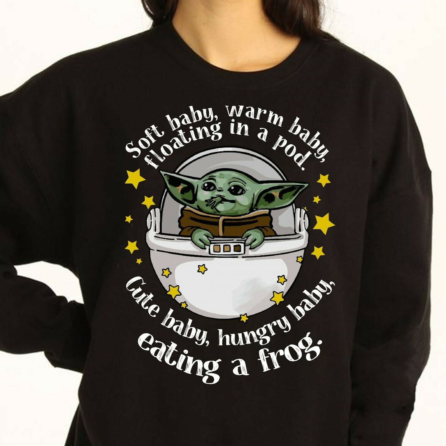 Soft baby,warm baby floating in a pod,cute baby,hungry baby,eating a frog,Baby Yoda Felt cute might eat a frog T Shirt Long Sleeve Sweatshirt Hoodie Jolly Family Gifts