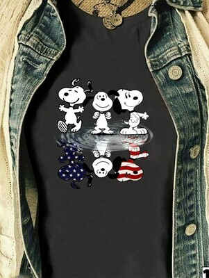 Peanuts Snoopy upside down funny American flag Peanuts Water Reflection Snoopy Reflection Woodstock Pin The Peanuts Movie fan gift T-Shirt Long Sleeve Sweatshirt Hoodie Jolly Family Gifts