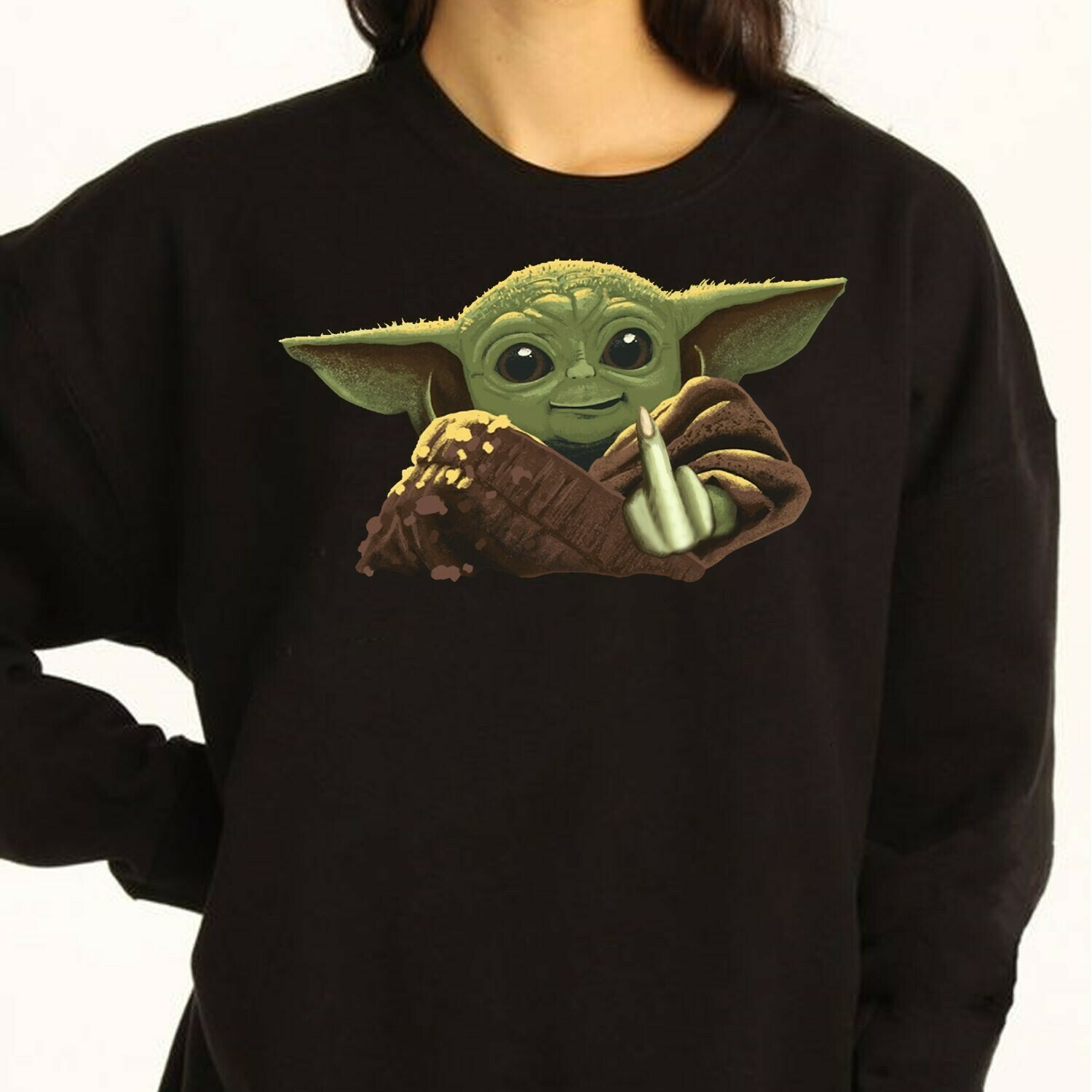 Baby Yoda Middle Finger Shirt,Funny Movie Memes Star Wars The Mandalorian The Rise of Skywalker funny fan gift T shirt Long Sleeve Sweatshirt Hoodie Jolly Family Gifts