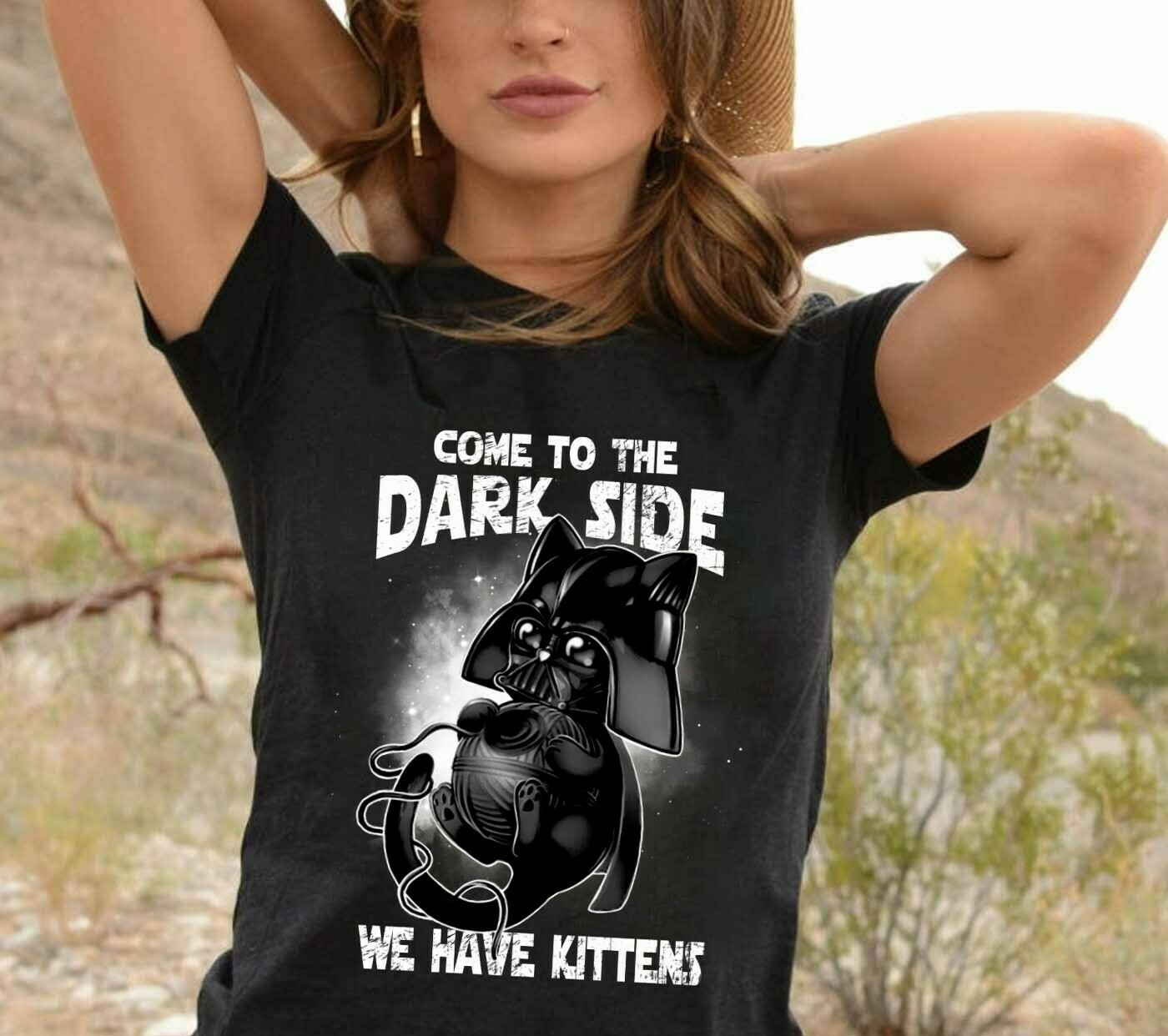 Cute Star Wars Cat Dark Vader Come To The Dark Side We Have Kittens Star Wars The Mandalorian The Rise of Skywalker funny fan gift T shirt Long Sleeve Sweatshirt Hoodie Jolly Family Gifts
