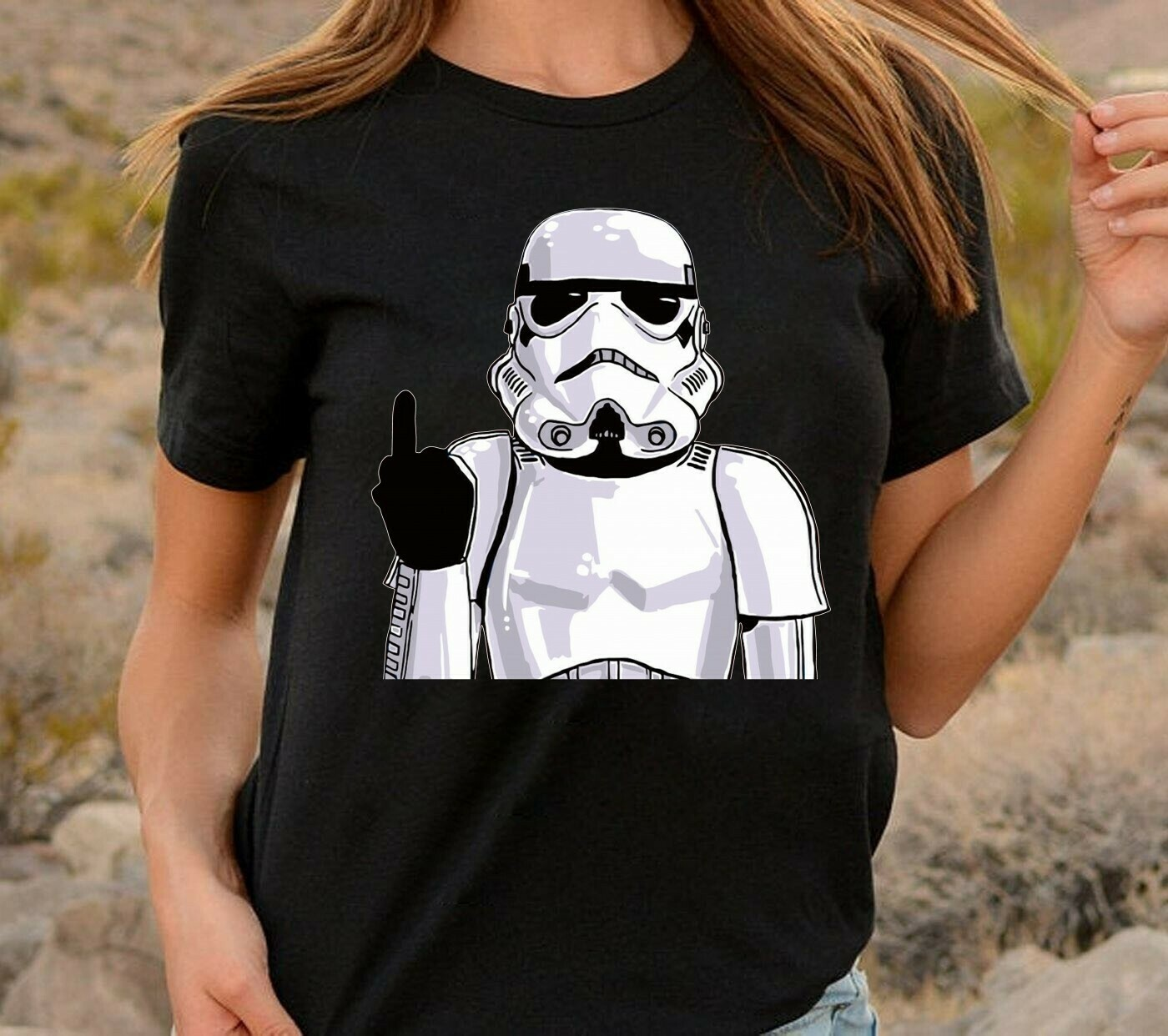 Star Wars Imperial Stormtrooper helmet Middle Finger Funny Meme Men's Sugar Skull Darth on Holiday Vader Storm Trooper Stormtrooper T-shirt Long Sleeve Sweatshirt Hoodie Jolly Family Gifts