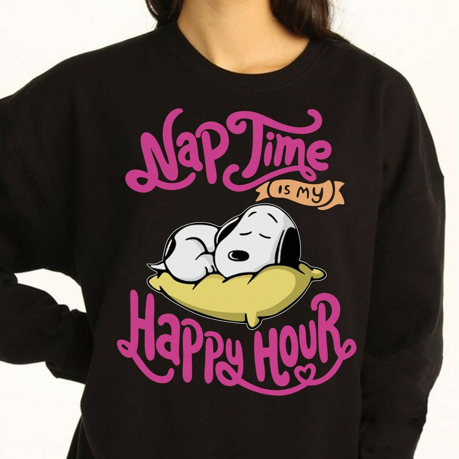 Nap Time Is My Happy Hour snoopy Snoopy taking a sweet nap with his Pillow Peanuts Gang Yard Snoopy Nap Lover Pin T-Shirt Long Sleeve Sweatshirt Hoodie Jolly Family Gifts