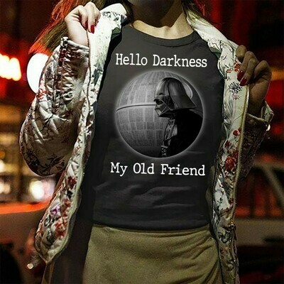 Star Wars Darth Vader Hello Darkness My Old Friend Fly For The Glory Of The Empire,Dark Side Funny Parody,Darth Vader Skull Star Wars TShirt Long Sleeve Sweatshirt Hoodie Jolly Family Gifts