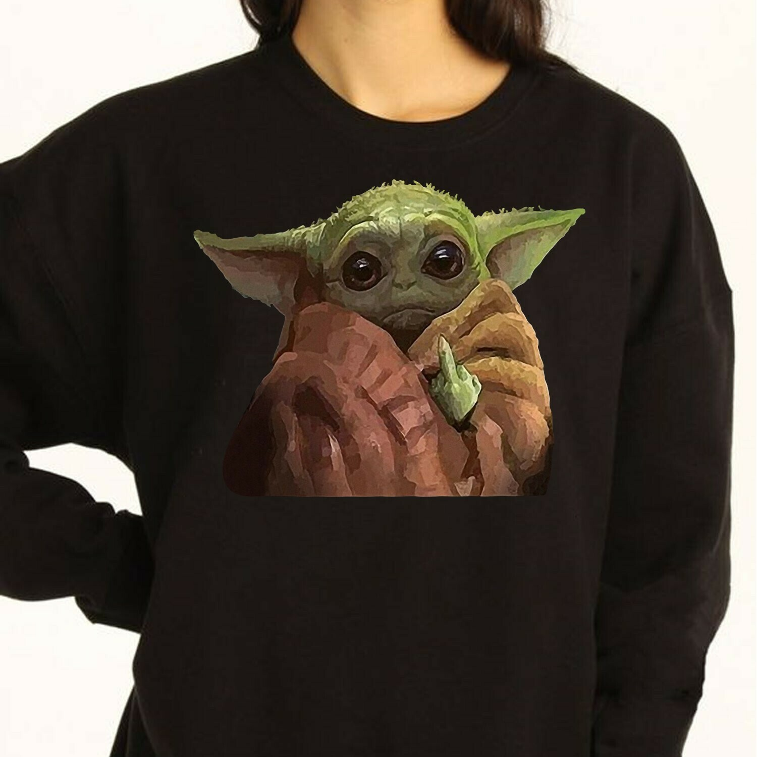 Baby Yoda Middle Finger Funny Movie Memes Star Wars The Mandalorian The Rise of Skywalker funny fan gift T shirt Long Sleeve Sweatshirt Hoodie Jolly Family Gifts