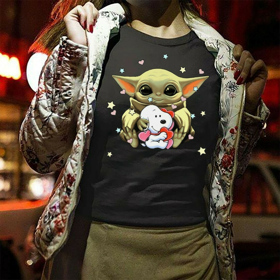Baby Yoda mashup Snoopy Star Wars funny the mandalorian the child first memories floating pod Kawaii King Boba Fett Lion King T-Shirt Long Sleeve Sweatshirt Hoodie Jolly Family Gifts