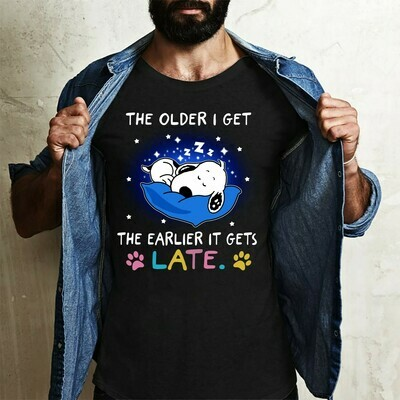 Snoopy the older I get the earlier gets late Peaunts Snoopy Woodstock Charlie Brown Family Gift Vacation Friends Team Party Fans T-Shirt Long Sleeve Sweatshirt Hoodie Jolly Family Gifts