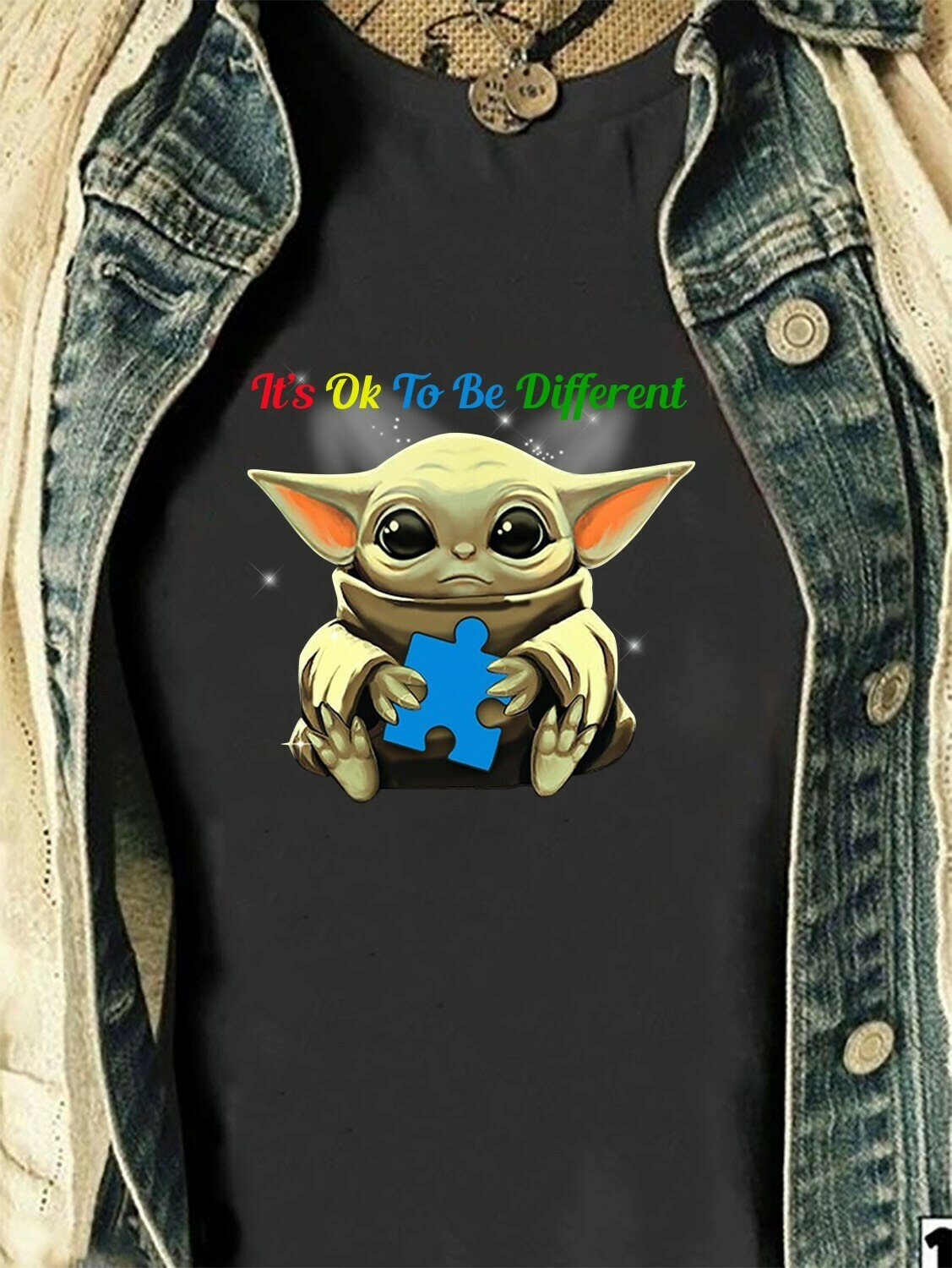 Star Wars Yoda,Baby Yoda It's Ok To Be Different Baby Yoda Hug Cancer Awareness Hope for A Cure,Autism Awareness Gifts T shirt Long Sleeve Sweatshirt Hoodie Jolly Family Gifts