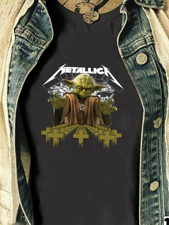 Star Wars Master Yoda Metallica,Boba Fett Rock,Mandalorian Funy Metallica Master of Puppets,Yoda Star War Ba-star War Metallica T shirt Long Sleeve Sweatshirt Hoodie Jolly Family Gifts