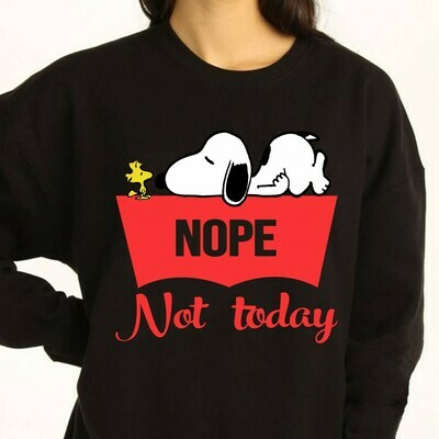 Vintage Snoopy and Woodstock nope not today shiny satin Lazy Snoopy New Peanuts small Charlie Brown Nope Not Today Snoopy T -shirt Long Sleeve Sweatshirt Hoodie Jolly Family Gifts