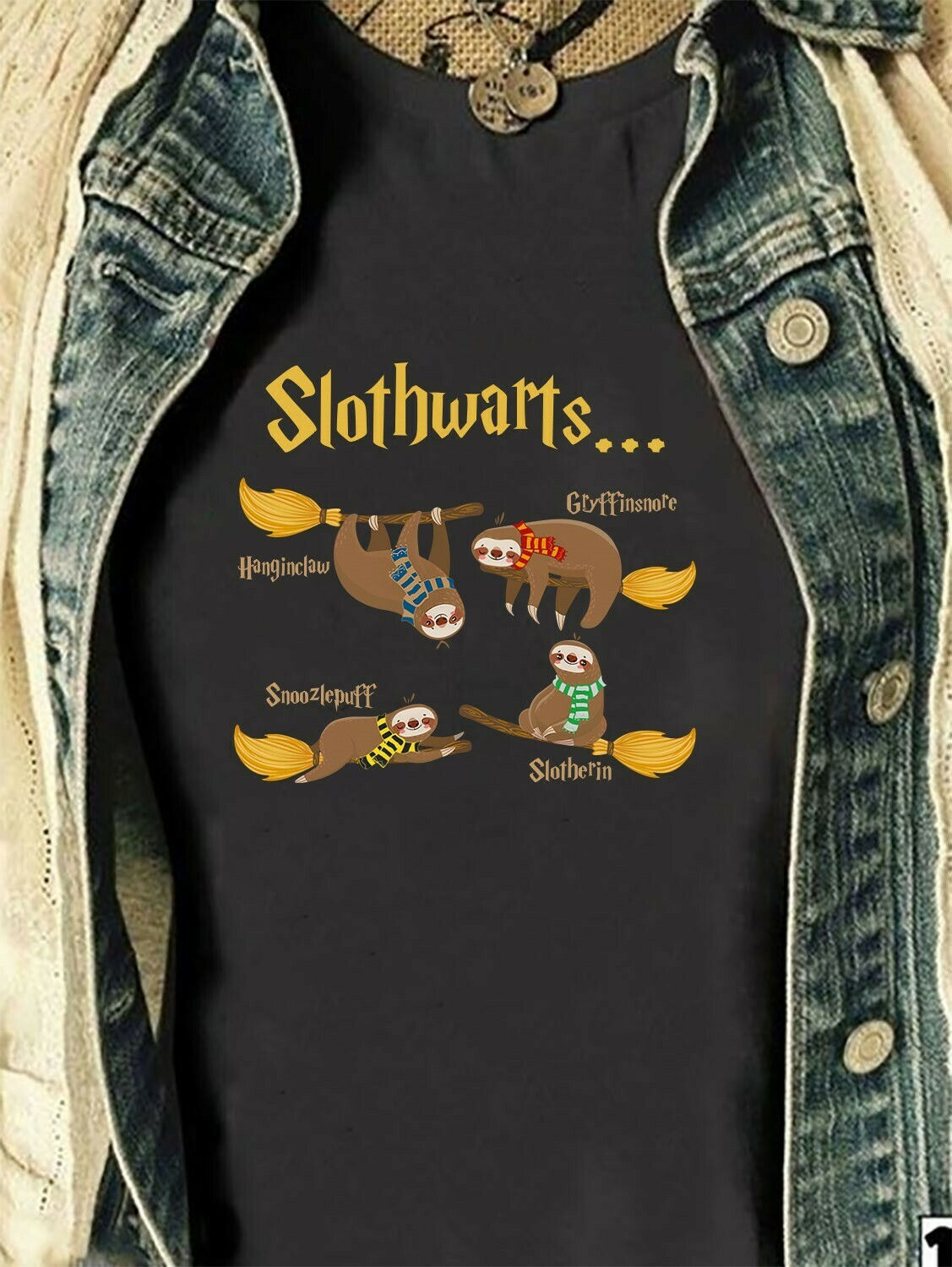Slothwarts Witch Magic wizard shirt for Sloth enthusiasts Sloth lovers,Funny Sloth T shirt gift for friends Team Love Harry Potter Long Sleeve Sweatshirt Hoodie Jolly Family Gifts