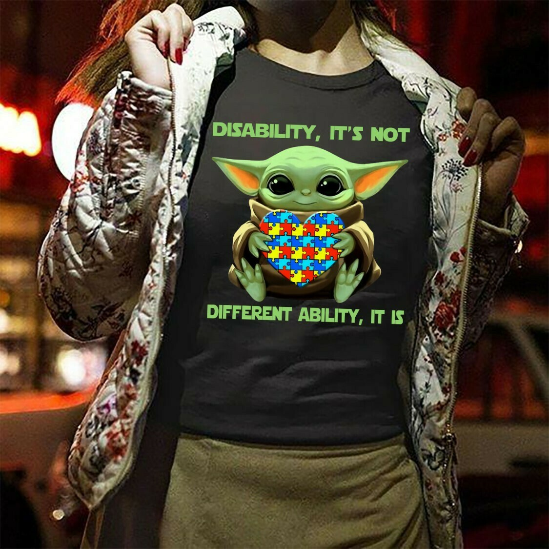 Star Wars Yoda,Baby Yoda Disability It's Not It's Differen Ability Baby Yoda Hug Cancer Awareness Hope for A Cure,Autism Awareness T shirt Long Sleeve Sweatshirt Hoodie Jolly Family Gifts