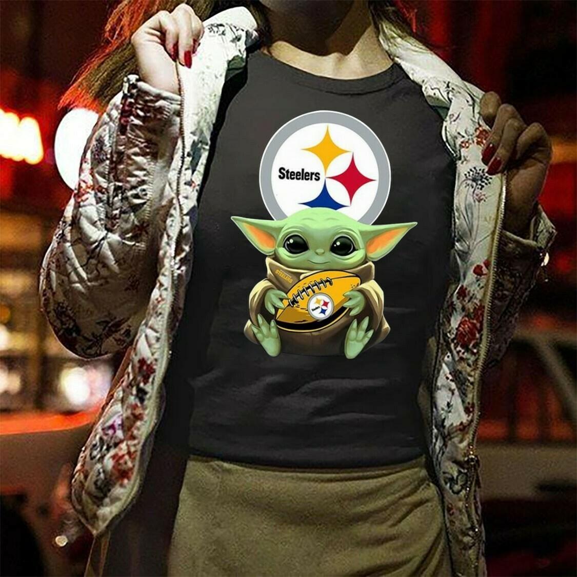 Pittsburgh Steelers Baby Yoda Star Wars The Mandalorian The Child First Memories Floating NBA Football Dad Mon Kid Fan Gift T-Shirt Long Sleeve Sweatshirt Hoodie Jolly Family Gifts