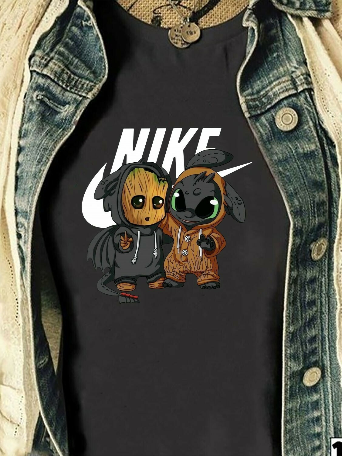 Baby Groot And Toothless Nike Deadpool Guardians Of The Galaxy Fan Star War Plus The Mandalorian Disney friends Festive Force T-Shirt Long Sleeve Sweatshirt Hoodie Jolly Family Gifts