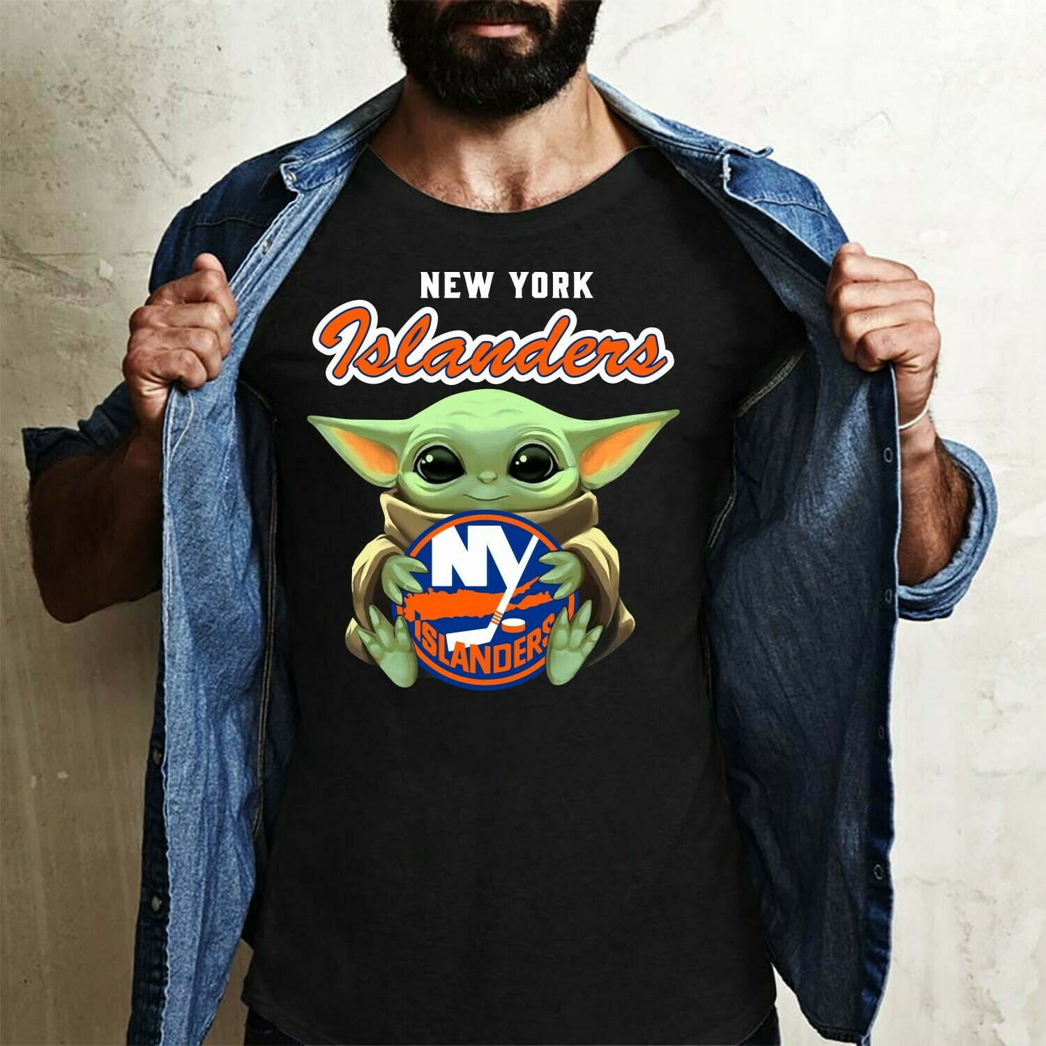 New York Islanders Baby Yoda shirt, Star Wars Unisex cotton Shirt, Baby Yoda Football team T-Shirt, T-Shirt With Sayings Long Sleeve Sweatshirt Hoodie Jolly Family Gifts