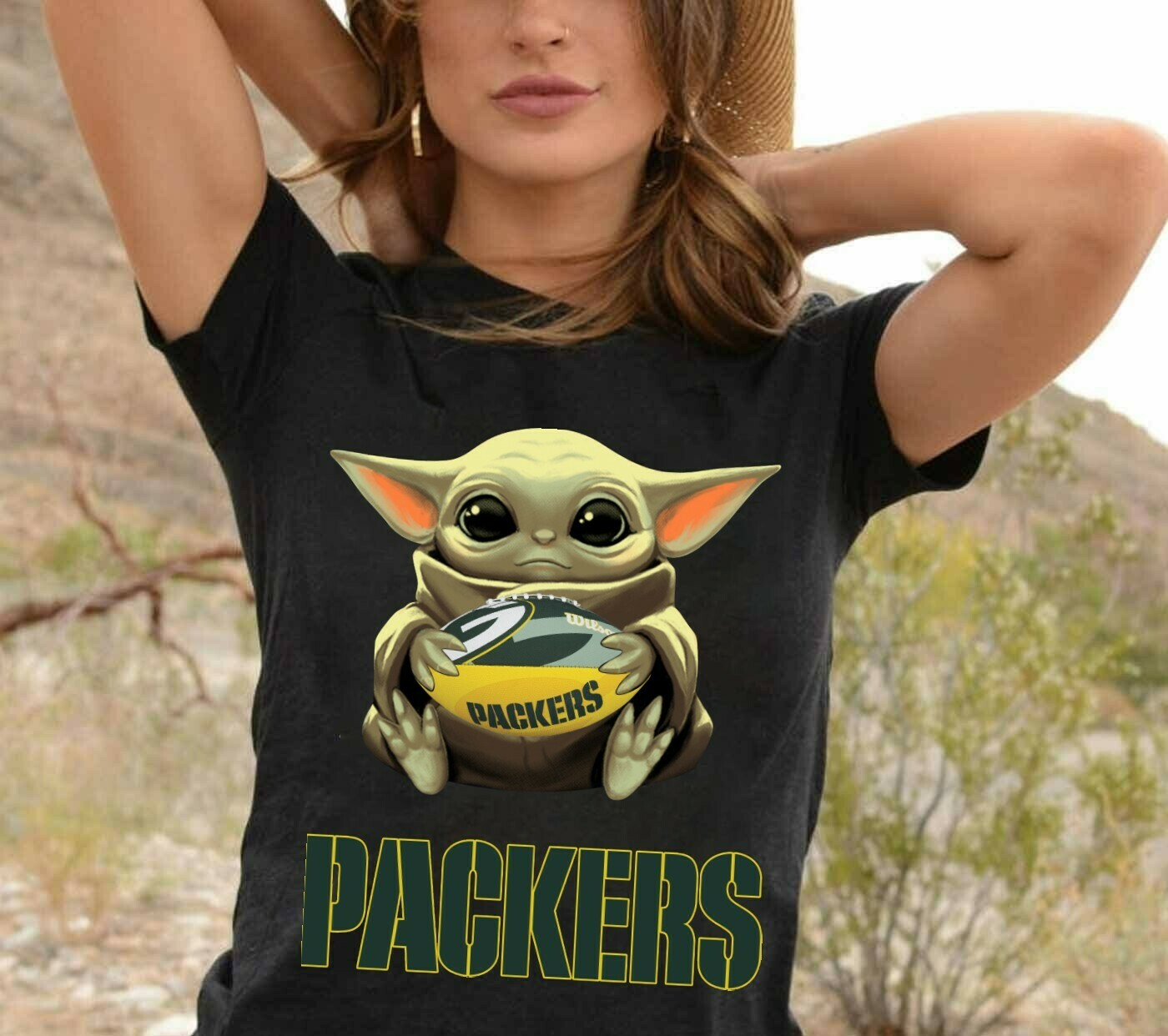 Green Bay Packers Baby Yoda Star Wars The Mandalorian The Child First Memories Floating NFL Football Team Dad Mon Kid Fan T-Shirt Long Sleeve Sweatshirt Hoodie Jolly Family Gifts