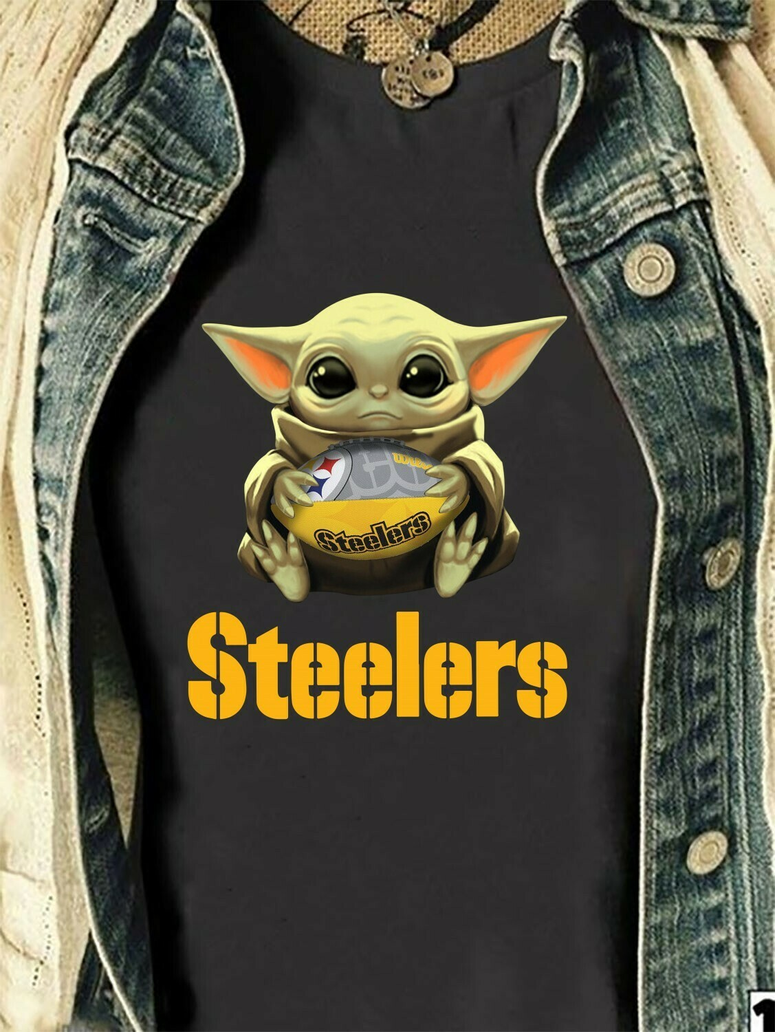 Pittsburgh Steelers Baby Yoda Star Wars The Mandalorian The Child First Memories Floating NFL Football Team Dad Mon Kid Fan Gift T-Shirt Long Sleeve Sweatshirt Hoodie Jolly Family Gifts