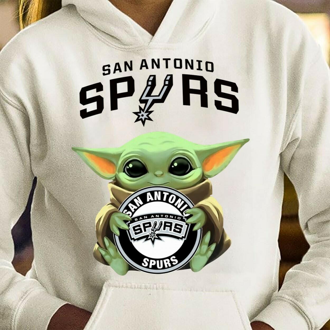 Aan Antonio Spurs Baby Yoda Star Wars The Mandalorian The Child First Memories Floating NBA Basketball Dad Mon Kid Fan Gift T-Shirt Long Sleeve Sweatshirt Hoodie Jolly Family Gifts