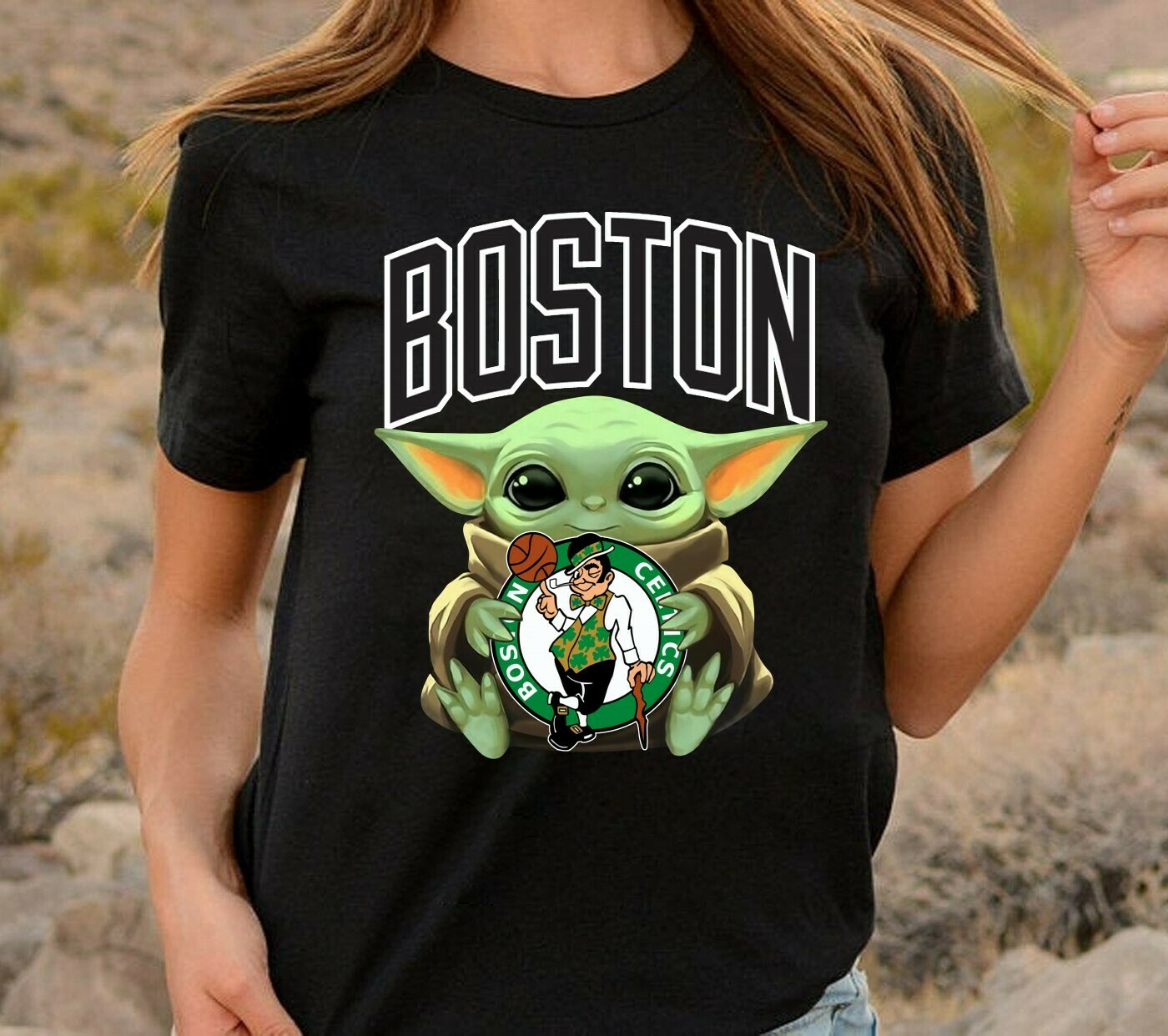 Boston Celtics Baby Yoda Star Wars The Mandalorian The Child First Memories Floating NBA Basketball Dad Mon Kid Fan Gift T-Shirt Long Sleeve Sweatshirt Hoodie Jolly Family Gifts
