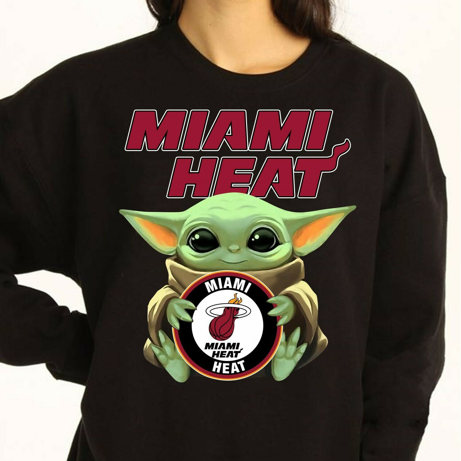 Miami Heat Baby Yoda Star Wars The Mandalorian The Child First Memories Floating NBA Basketball Dad Mon Kid Fan Gift T-Shirt Long Sleeve Sweatshirt Hoodie Jolly Family Gifts