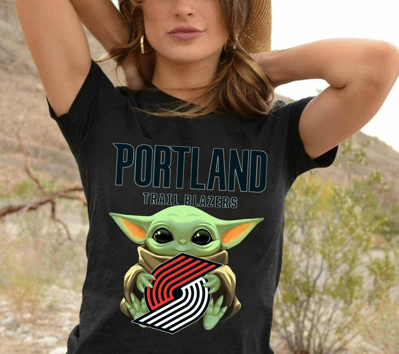 Portland Trail Blazers Baby Yoda Star Wars The Mandalorian The Child First Memories Floating NBA Basketball Dad Mon Kid Fan Gift T-Shirt Long Sleeve Sweatshirt Hoodie Jolly Family Gifts