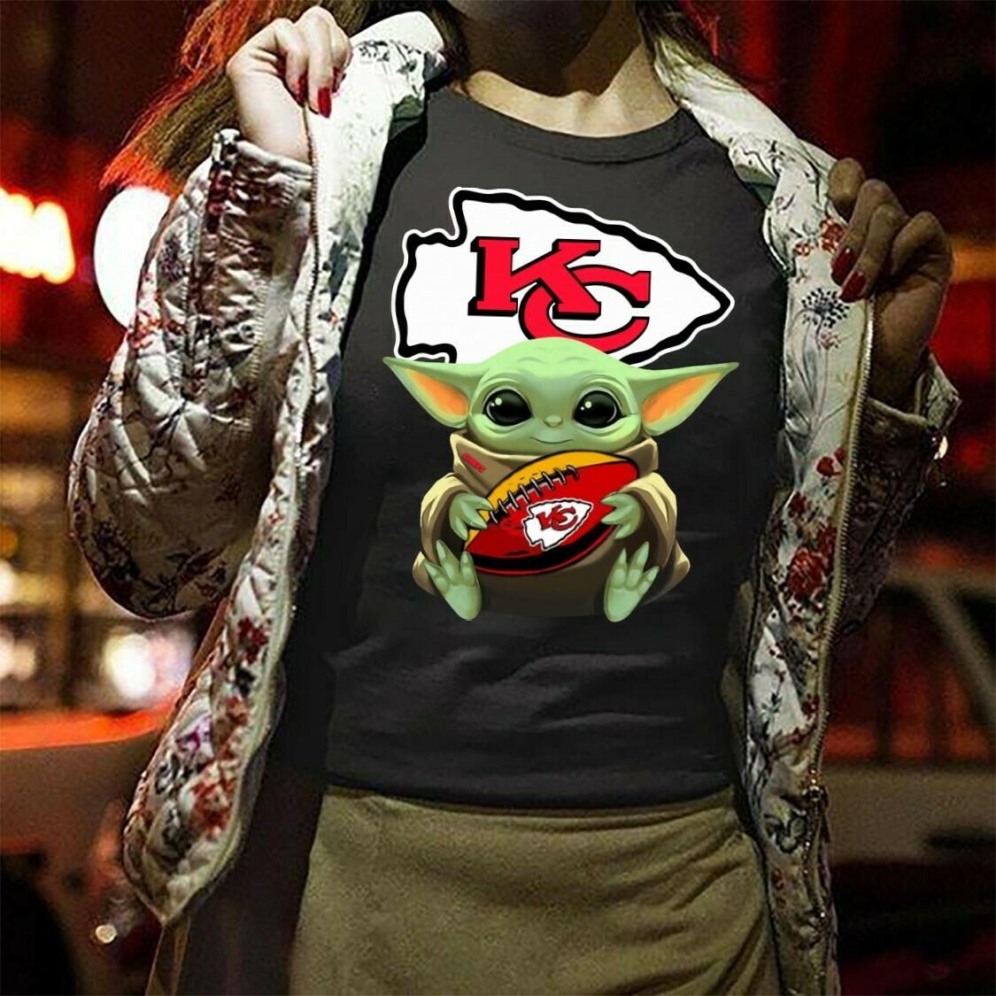 Kansas City Chiefs Baby Yoda Star Wars The Mandalorian The Child First Memories Floating Football Team Dad Mon Kid Fan Gift T-Shirt Long Sleeve Sweatshirt Hoodie Jolly Family Gifts