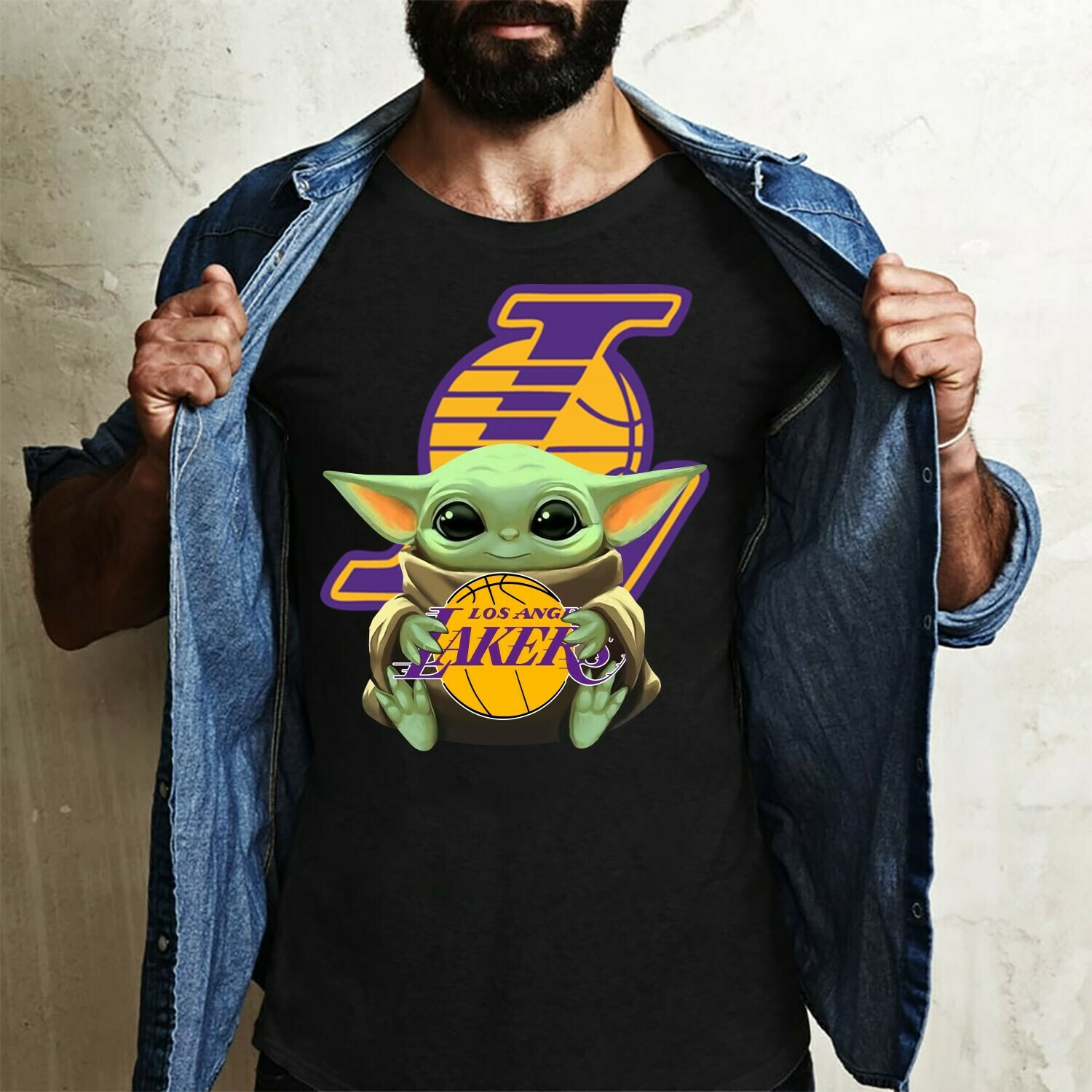 Los angeles Lakers Baby Yoda Star Wars The Mandalorian The Child First Memories Floating NBA Basketball Dad Mon Kid Fan Gift T-Shirt Long Sleeve Sweatshirt Hoodie Jolly Family Gifts