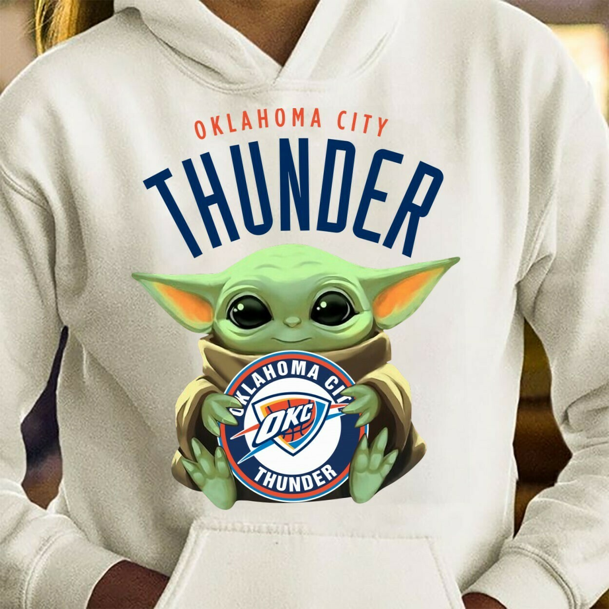 Oklahoma City Thunder Baby Yoda Star Wars The Mandalorian The Child First Memories Floating NBA Basketball Dad Mon Kid Fan Gift T-Shirt Long Sleeve Sweatshirt Hoodie Jolly Family Gifts