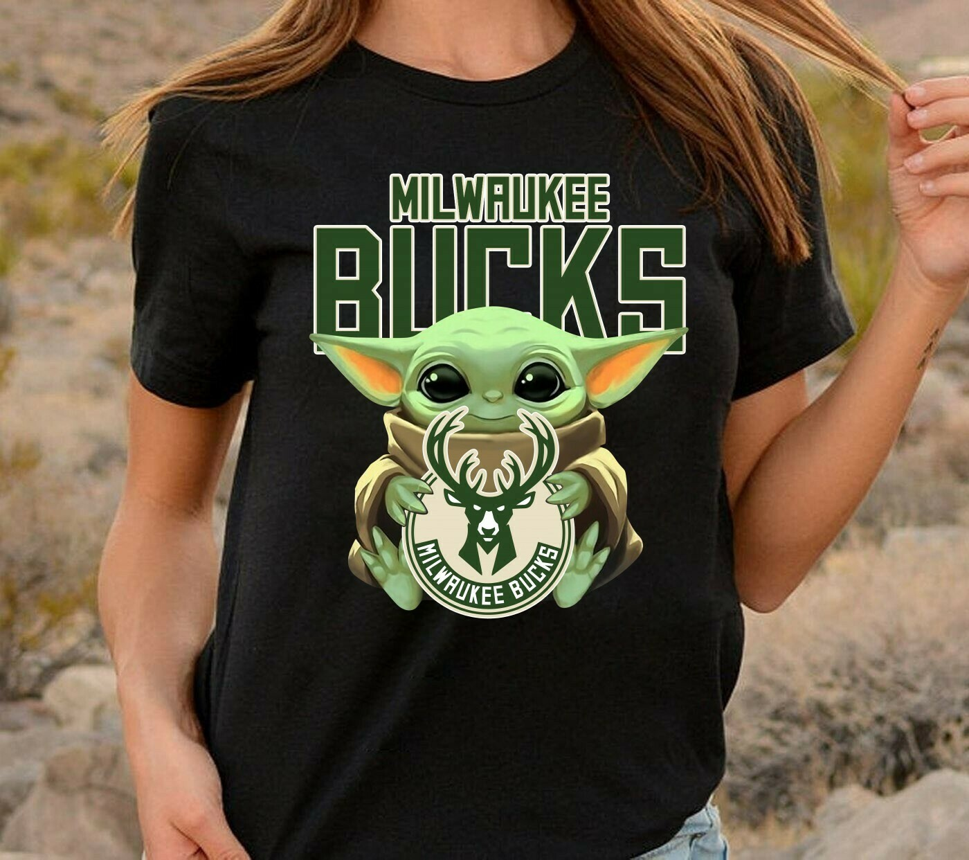 Milwaukee Bucks Baby Yoda Star Wars The Mandalorian The Child First Memories Floating NBA Basketball Dad Mon Kid Fan Gift T-Shirt Long Sleeve Sweatshirt Hoodie Jolly Family Gifts