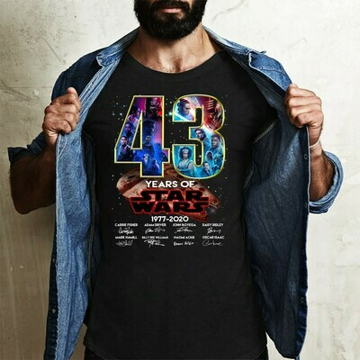 43 Years Of Star Wars 1977 2020 Films Signature Thank You For The Memories Awesome Gift for Star War Fans Action Movies Lovers T Shirt Long Sleeve Sweatshirt Hoodie Jolly Family Gifts