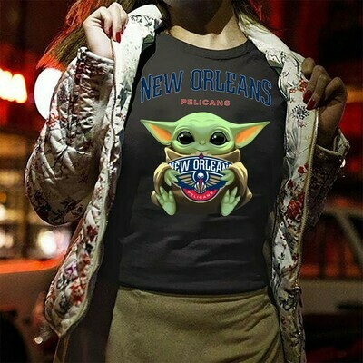 New Orleans Pelicans Baby Yoda Star Wars The Mandalorian The Child First Memories Floating NBA Basketball Dad Mon Kid Fan Gift T-Shirt Long Sleeve Sweatshirt Hoodie Jolly Family Gifts