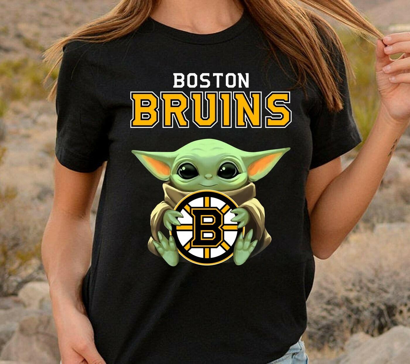 Star Wars Baby Yoda Boston Bruins team sports,The Mandalorian The Child First Memories Floating Ice hockey T-Shirt Long Sleeve Sweatshirt Hoodie Jolly Family Gifts