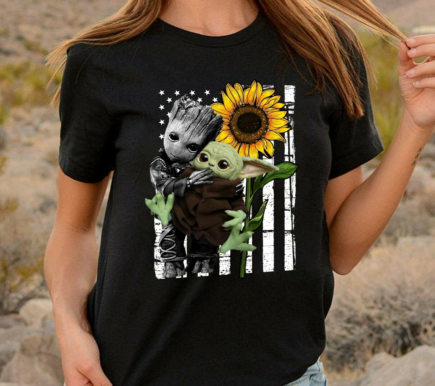 Groot hugging Baby Yoda Sunflower In A World shirt,Funny Star Wars The Mandalorian The Child First Memories T-Shirt Long Sleeve Sweatshirt Hoodie Jolly Family Gifts