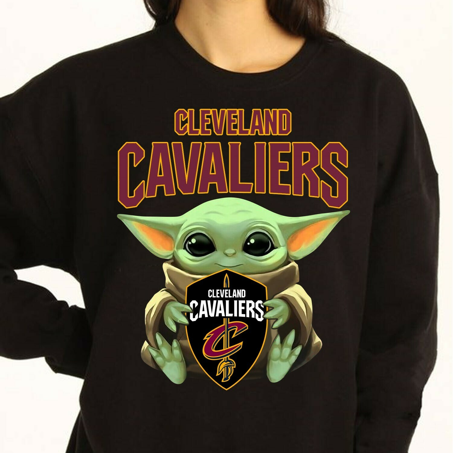 Cleveland Cavaliers Baby Yoda Star Wars The Mandalorian The Child First Memories Floating NBA Basketball Dad Mon Kid Fan Gift T-Shirt Long Sleeve Sweatshirt Hoodie Jolly Family Gifts