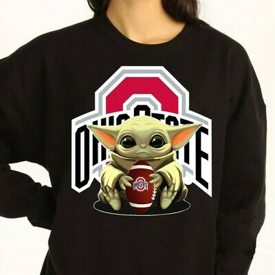 Ohio State Baby Yoda Star Wars The Mandalorian The Child First Memories Floating NFL Football Team Dad Mon Kid Fan Gift T-Shirt Long Sleeve Sweatshirt Hoodie Jolly Family Gifts