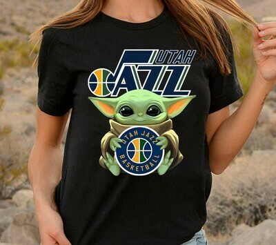 Jtah Jazz Basketball Baby Yoda Star Wars The Mandalorian The Child First Memories Floating NBA Basketball Dad Mon Kid Fan Gift T-Shirt Long Sleeve Sweatshirt Hoodie Jolly Family Gifts