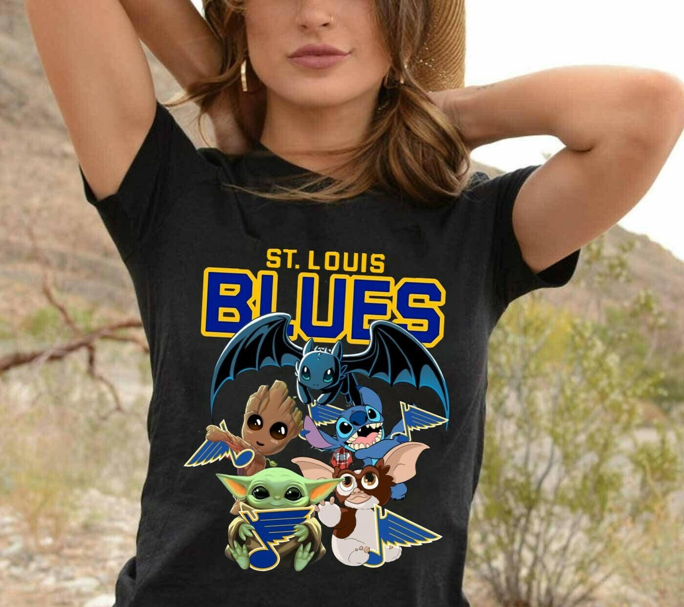 St. Louis Blues Saint Louis Baby Yoda Star Wars The Mandalorian The Child First Memories Floating Baseball Dad Mon Kid Fan Gift T-Shirt Long Sleeve Sweatshirt Hoodie Jolly Family Gifts