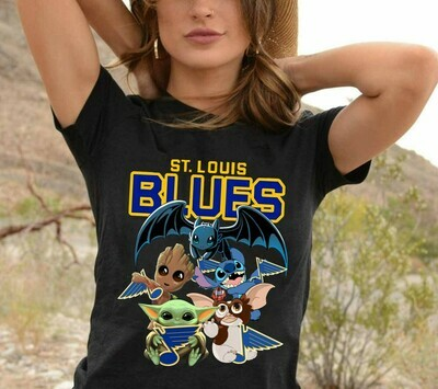 St. Louis Blues Saint Louis Baby Yoda Star Wars The Mandalorian The Child First Memories Floating Baseball Dad Mon Kid Fan Gift T-Shirt Long Sleeve Sweatshirt Hoodie Jolly Family Gifts