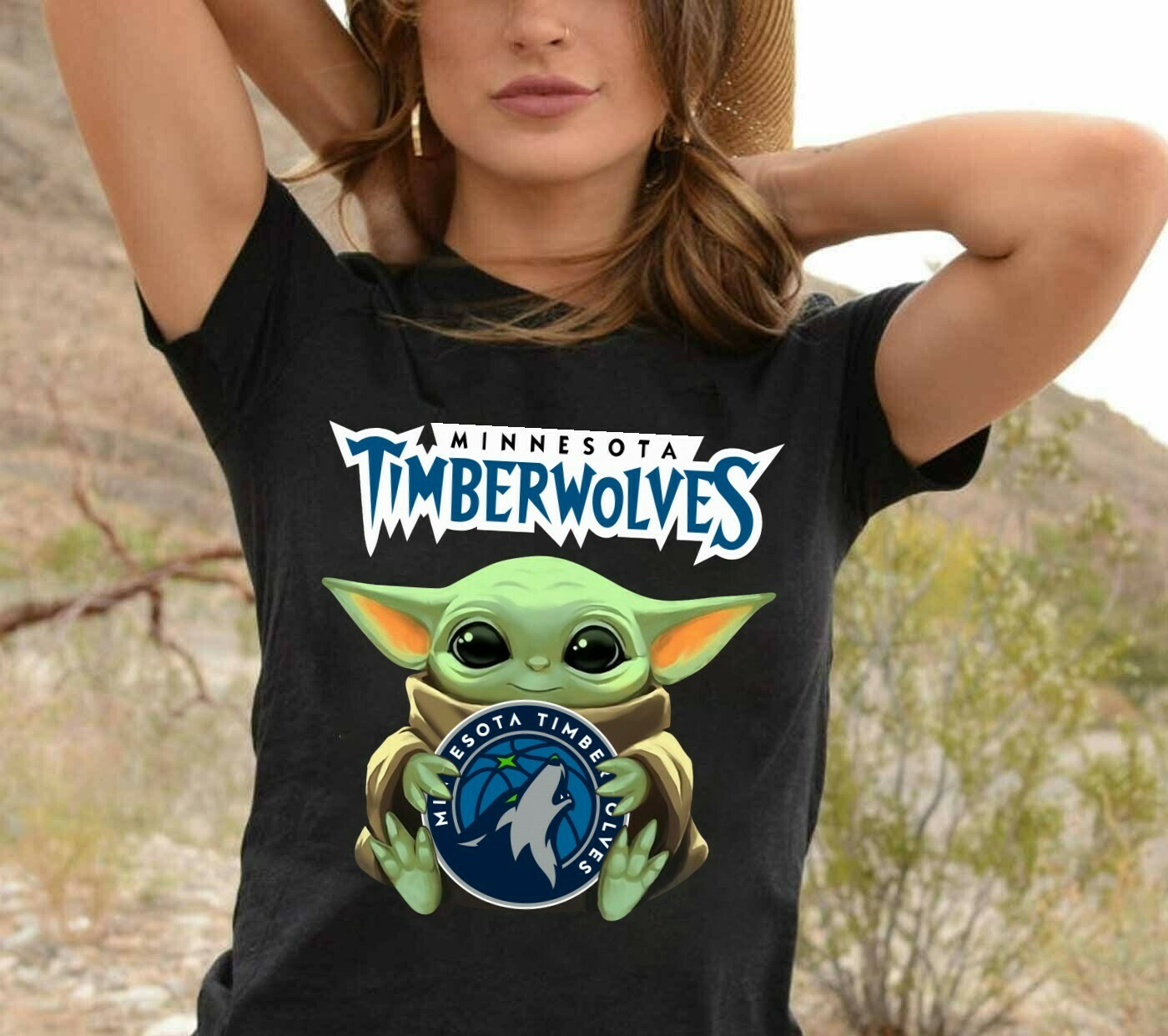 Minnesota Timberwolves Baby Yoda Star Wars The Mandalorian The Child First Memories Floating NBA Basketball Dad Mon Kid Fan Gift T-Shirt Long Sleeve Sweatshirt Hoodie Jolly Family Gifts