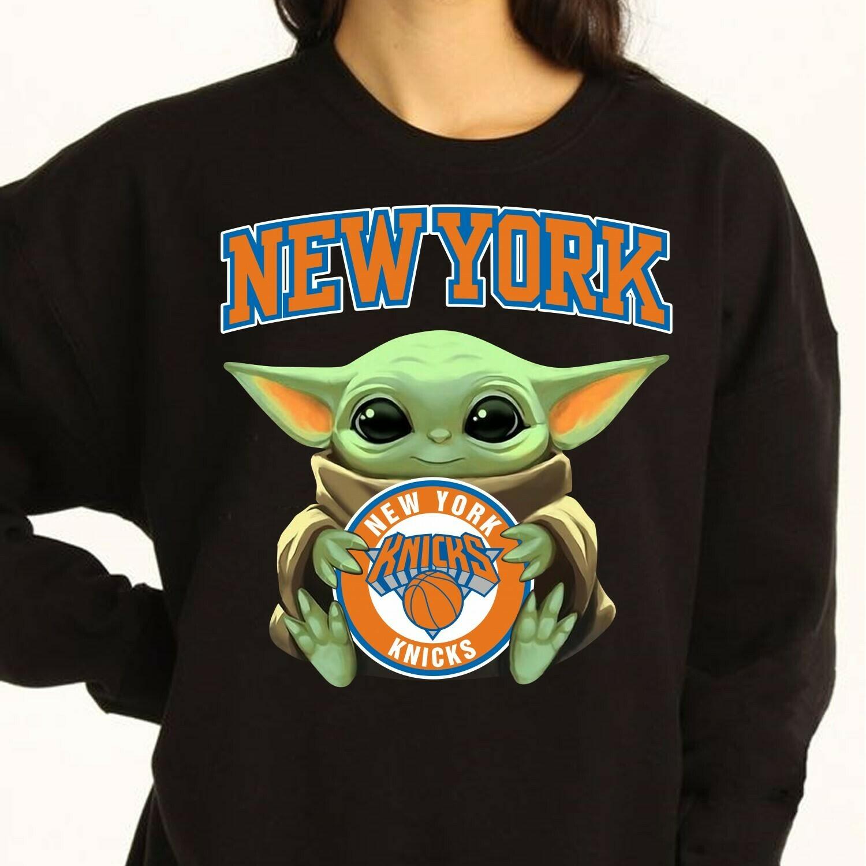 New York Knicks Baby Yoda Star Wars The Mandalorian The Child First Memories Floating NBA Basketball Dad Mon Kid Fan Gift T-Shirt Long Sleeve Sweatshirt Hoodie Jolly Family Gifts