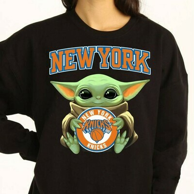 New York Knicks Baby Yoda Star Wars The Mandalorian The Child First Memories Floating NBA Basketball Dad Mon Kid Fan Gift T-Shirt Long Sleeve Sweatshirt Hoodie Jolly Family Gifts