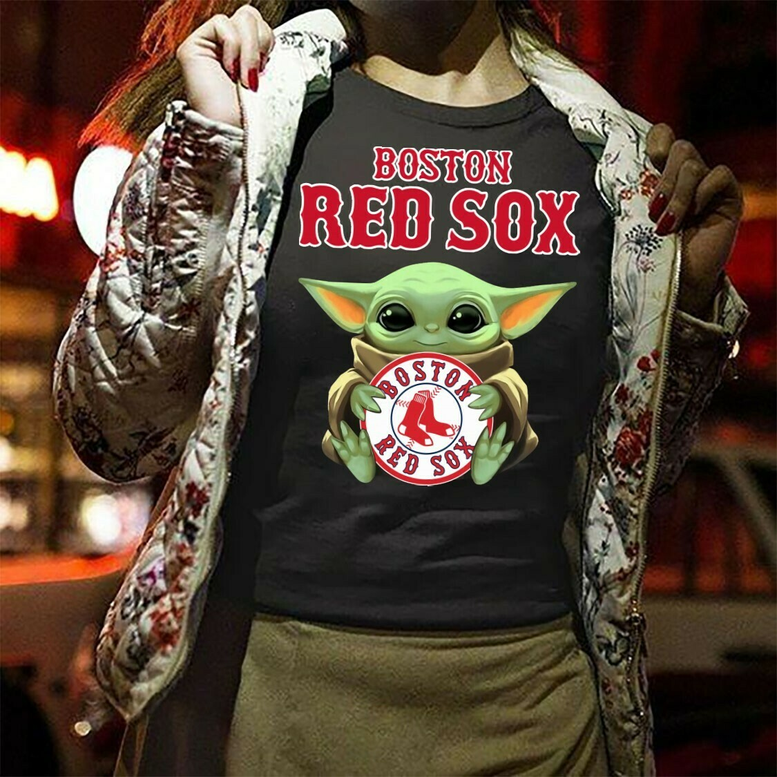 Boston Red Sox Baby Yoda,Star Wars Yoda fantasy Football team The Mandalorian The Child First Memories Floating Baseball Fan T-Shirt Long Sleeve Sweatshirt Hoodie Jolly Family Gifts