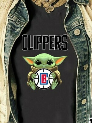 LA Clippers Majestic NBA baby yoda,Small Star Wars Los Angeles Clippers Victory Century,Fanatics Branded Youth Midnight Mascot T shirt Long Sleeve Sweatshirt Hoodie Jolly Family Gifts