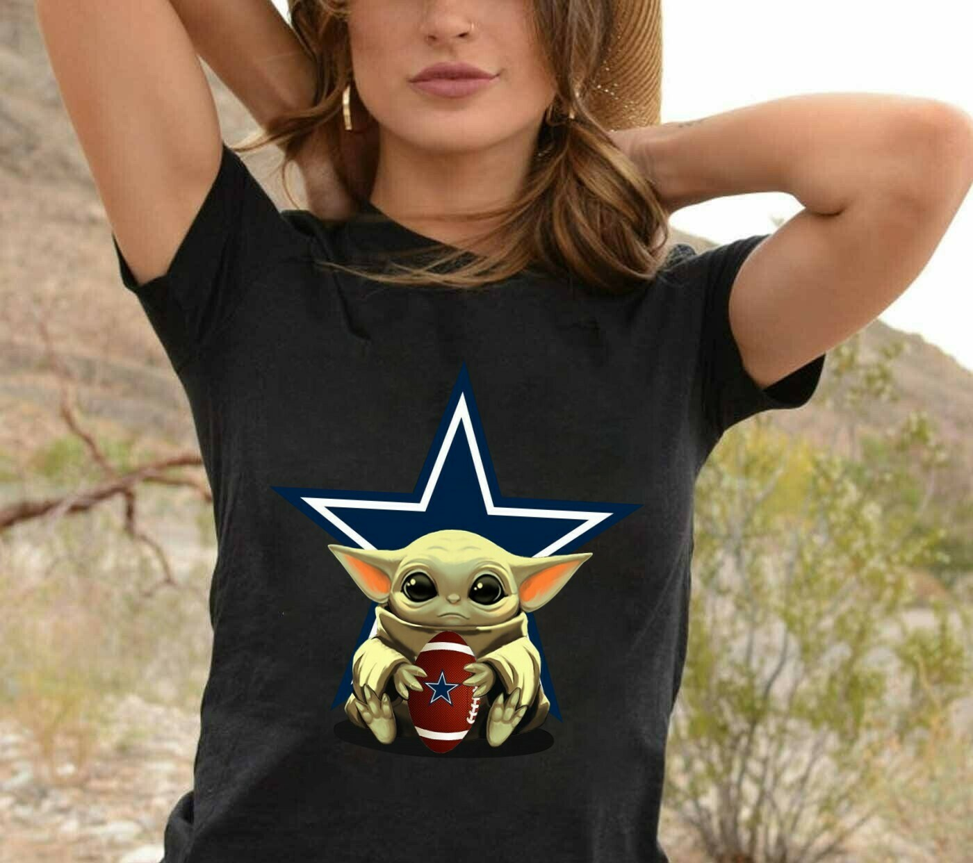 Dallas Cowboys Baby Yoda Star Wars The Mandalorian The Child First Memories Floating NFL Football Team Dad Mon Kid Fan Gift T-Shirt Long Sleeve Sweatshirt Hoodie Jolly Family Gifts